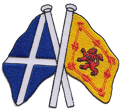 Scotland Saltire and Lion Rampant Friendship Flag Embroidered Patch Badge