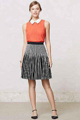 NEW Anthropologie Striped Remy Skirt By Maeve sz 2 100% Cotton Back/ White RARE
