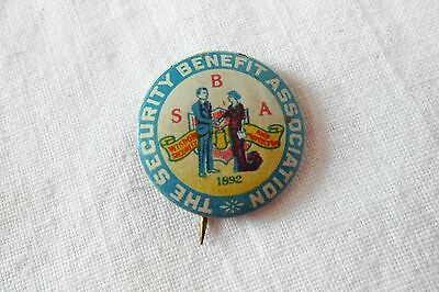 Vintage Security Benefit Association Insurance Advertising Pinback Button