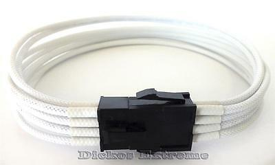 "8 Pin 12V ATX PSU Extension Cable EPS - 30CM/12"" White Sleeved ""Dickos Extreme"""