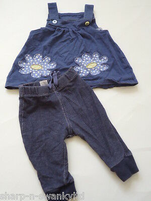 ☆ NEXT Girls Blue Top & Jeggings Matching Outfit Set Age 3-6 months ☆