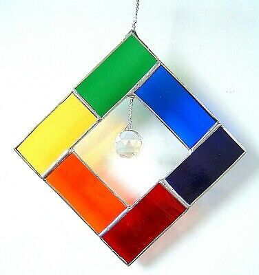 Contemporary Art Rainbow Square stained glass suncatcher crystal ball