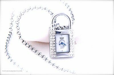 Lock Watch chain Necklace Pendant with sparkling crystals & Mother of Pearl Dial