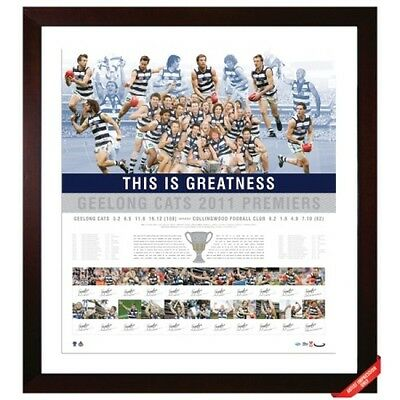 Geelong Cats 2011 Premiership Team Hand Signed Limited Edition Print Selwood
