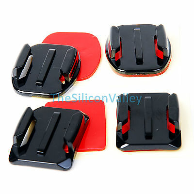 2x Flat+2x Curved Surface Mounts with Adhesive for GoPro HD Hero 4 3+ 3 2 Camera