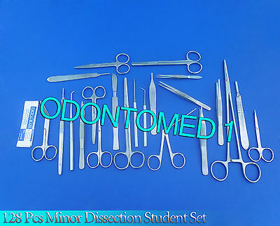 128 Pc Minor Dissection Student Kit Surgical Instruments Forceps Blades