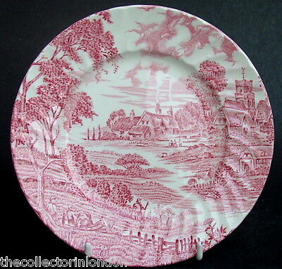 Vintage Ridgway Ridgways Meadowsweet Red Side or Bread Size Plates 17.5cm in VGC
