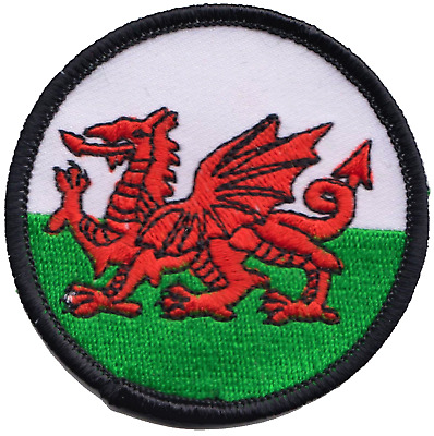 Wales Welsh Dragon Flag Round Embroidered Patch Badge