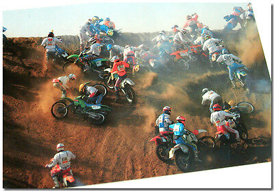 1990s MOTORCYCLE MOTOCROSS CRASH POST CARD w/ HONDA CR XR KAWASAKI KX SUZUKI RM