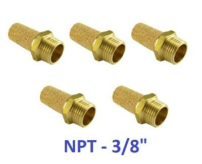 "Brass Silencer Connector NPT 3/8"" Noise Reduce Air Valve Muffler 5 Pieces"