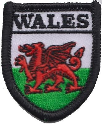 Wales Welsh Dragon Flag Shield TINY Embroidered Patch Badge