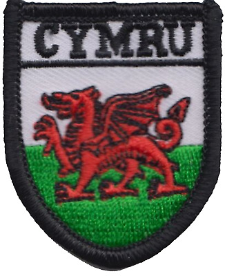 Wales Welsh Dragon Cymru Flag Shield TINY Embroidered Patch Badge