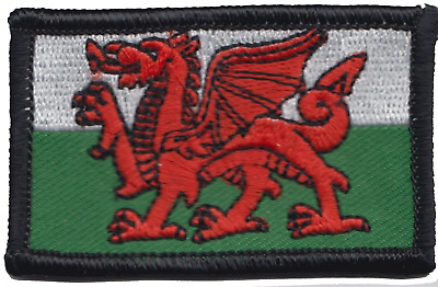 Wales Welsh Dragon Flag Rectangular Small Embroidered Patch Badge