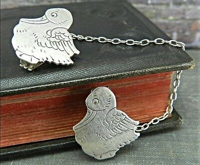 Circa 1940's Webster Sterling Silver Duck Sweater or Bib Clips
