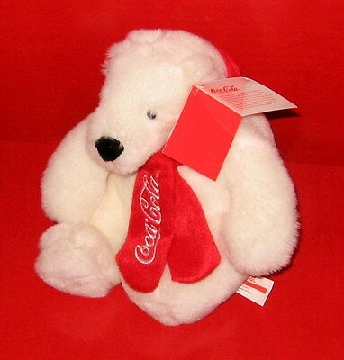 "8"" Coca Cola Sitting Polar Bear White Red Scarf Stuffed Animal Plush with TAG"