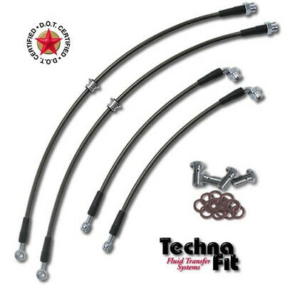 FRONT REAR Techna-Fit Stainless Steel Brake Lines SS DOT Approved Fits Evo 8 9