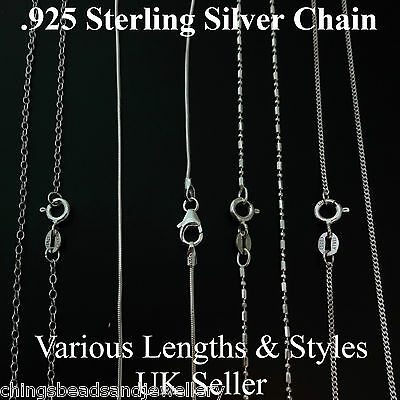 ".925 Sterling Silver Necklace Chain 16"" 18"" Curb Trace Snake Bead Chains"