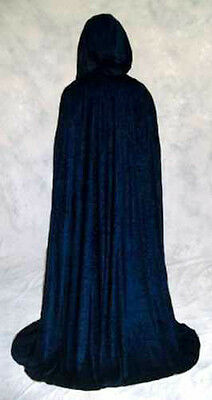 NAVY blue Velvet Cloak Cape Wedding Wicca Medieval LARP