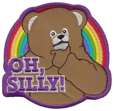 """Rainbow Television Series Bungle Bear """"Oh Silly!"""" Embroidered Patch Badge"""