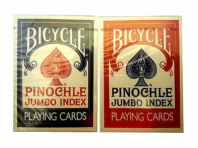 Lot 2 Bicycle Jumbo Pinochle Large Index Playing Cards 1 Red & 1 Blue Deck Game
