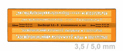 standardgraph 2523 Schriftschablone 2 in 1 -  DUO SKRIPT 3,5 + 5 mm