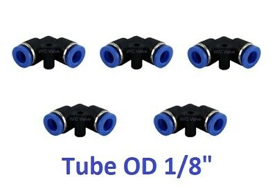 """Pneumatic Elbow Union Tube OD 1/8"""" L Shape Push In To Connect Fitting 5 Pieces"""