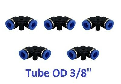 """5pcs Pneumatic Elbow Union Tube OD 3/8"""" Push In To Connect Fitting Quick Release"""