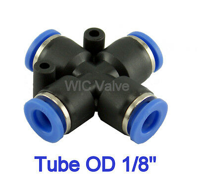 """5pcs Pneumatic Cross Union Push In To Connect Fitting Tube OD 1/8"""" Quick Release"""