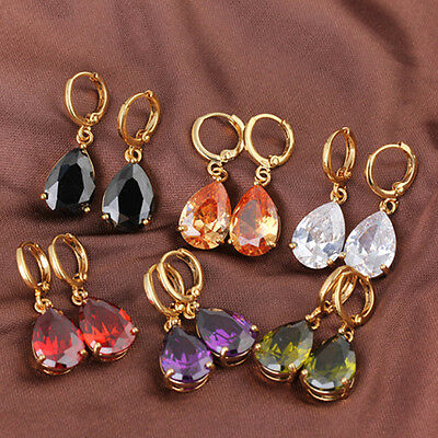 Gorgeous Flawless Gemstone Gold Filled Womens Water Drop Earrings New JEWEL