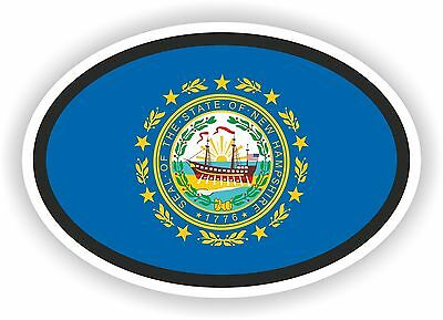New Hampshire STATE OVAL WITH FLAG STICKER USA UNITED STATES bumper decal car