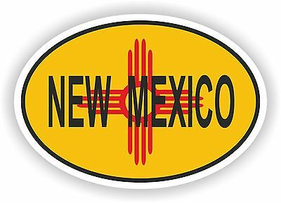 New Mexico STATE OVAL WITH FLAG STICKER USA UNITED STATES bumper decal car