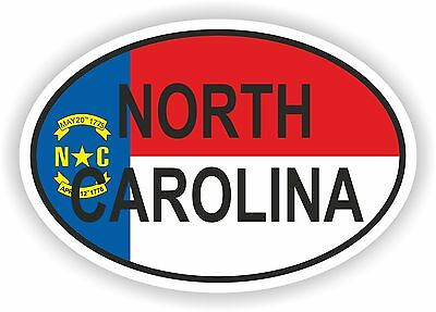 North Carolina STATE OVAL WITH FLAG STICKER USA UNITED STATES bumper decal car
