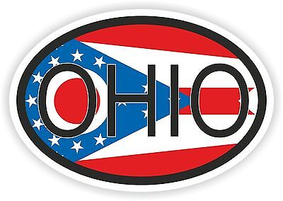 Ohio STATE OVAL WITH FLAG STICKER USA UNITED STATES bumper decal car
