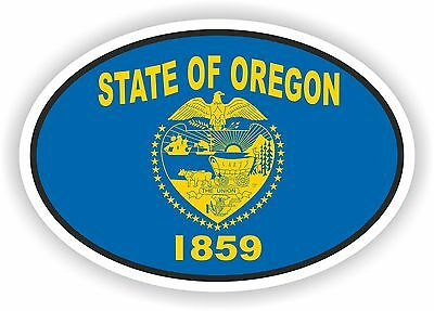 Oregon STATE OVAL WITH FLAG STICKER USA UNITED STATES bumper decal car
