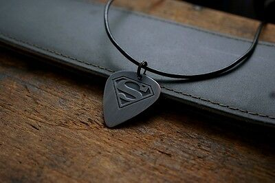 Hand Made Etched Copper Guitar Pick Necklace - Superman