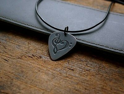Hand Made Etched Copper Guitar Pick Necklace - Clef Heart