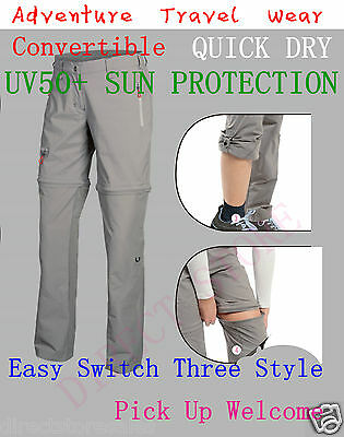 WOMENS Convertible Zip Off Shorts Walking Hiking Camping Cargo Trousers Pant