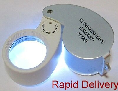 Silver 40 x 25 Magnifier with Light. A Must for Hallmarks