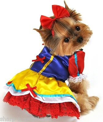 Pet Dog Cat Snow White Halloween Gift Fancy Dress Costume Outfit Clothes XS-XL