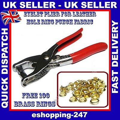 New Handy Eyelet Plier Hole Punch Tool Kit Leather Craft with 100 Brass Rings