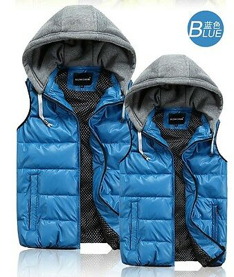 5Colors/4Size Men's Fashion Cotton Down Short Hooded Jacket Vest Padded Puffer