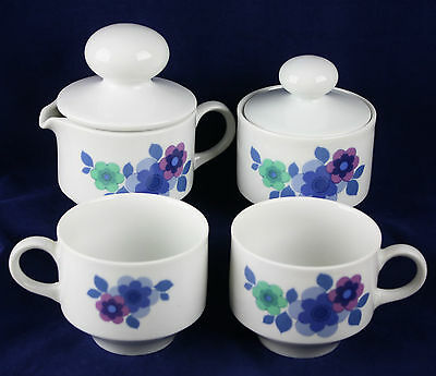 Vintage 70's Mitterteich Bavaria Blue Purple Flowers Sugar Creamer Coffee Cups