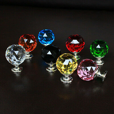 crystal glass drawer knobs cabinet handle kitchen pulls yellow blue pink black