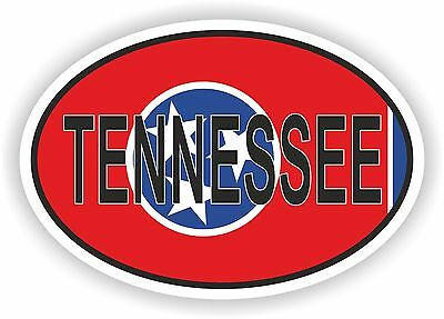 TENNESSEE STATE OVAL WITH FLAG STICKER USA UNITED STATES bumper decal car