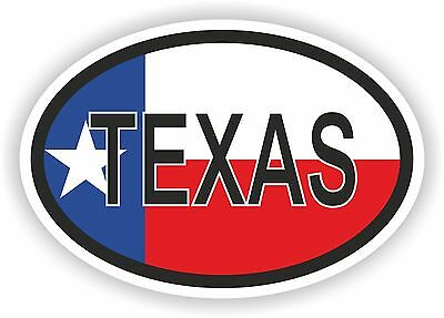 TEXAS STATE OVAL WITH FLAG STICKER USA UNITED STATES bumper decal car