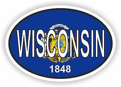 WISCONSIN STATE OVAL WITH FLAG STICKER USA UNITED STATES bumper decal car