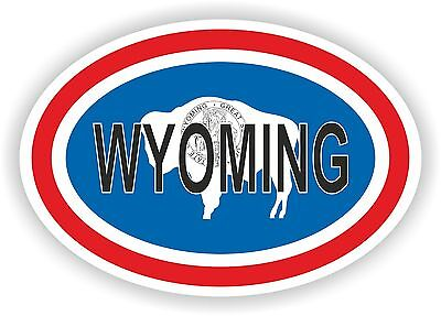 WYOMING STATE OVAL WITH FLAG STICKER USA UNITED STATES bumper decal car
