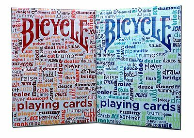 Lot 2 Bicycle Table Talk Playing Cards Decks Card Games Red And Blue New