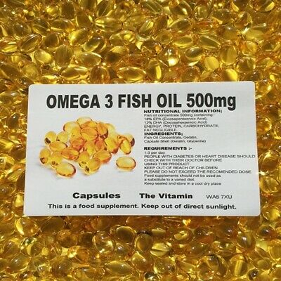 The Vitamin Omega 3 Fish Oil 500mg 1000 Capsules Buy in Bulk - Bagged