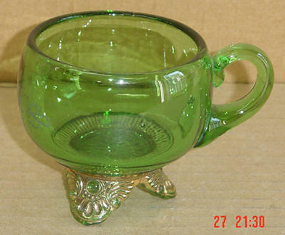 EAPG GREEN & GOLD COLORADO FOOTED CUP US GLASS 1898